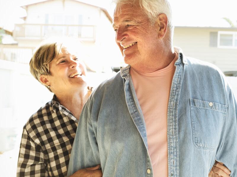 Happy Senior Couple After Overdenture Procedure